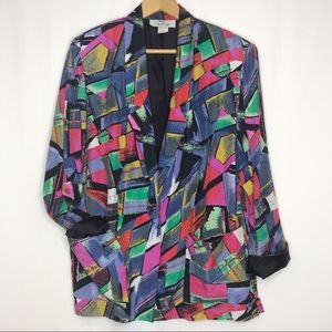 Vtg 80's/90's Abstract Color Block Women's Blazer